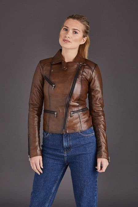 Brown Leather Jackets Womens:Anna
